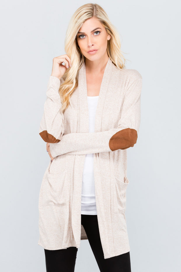 Kids Knit Suede Elbow Cardigan-Kids-Cocoplum Boutique