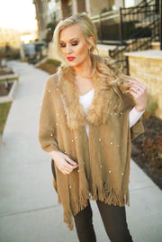 Faux Fur Poncho Trimmed Sweater-Apparel-Cocoplum Boutique