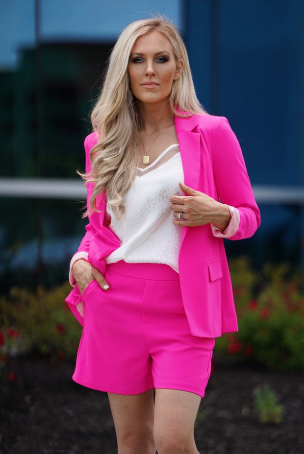 Think Pink Blazer Set-Cocoplum Boutique