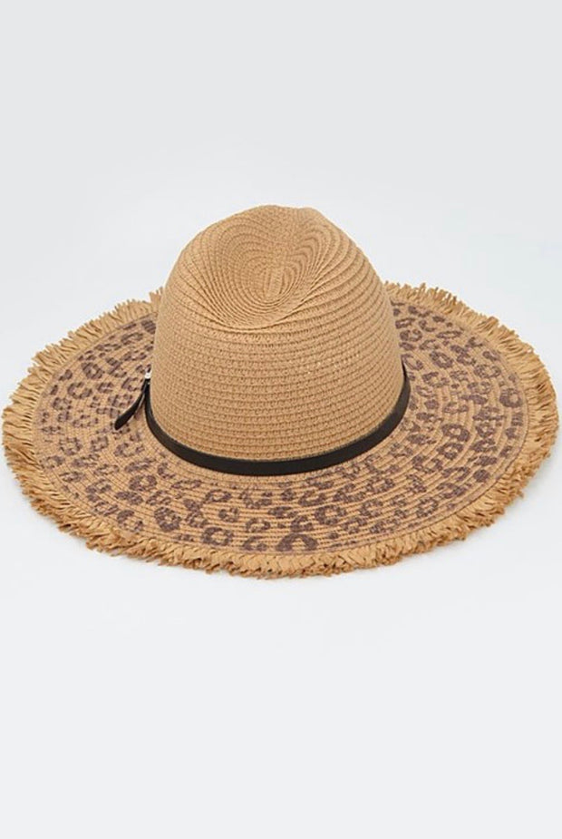 Belted White Animal Print Sunhat-Accessories-Cocoplum Boutique