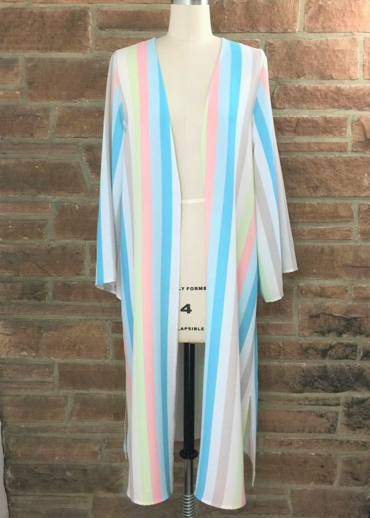 Long Sleeve Duster Striped-Tops-Cocoplum Boutique