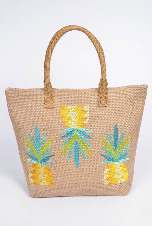Pineapple Cross Straw Bag-Accessories-Cocoplum Boutique