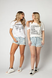 High Waisted Denim Striped Sheriff Shorts-Apparel-Cocoplum Boutique
