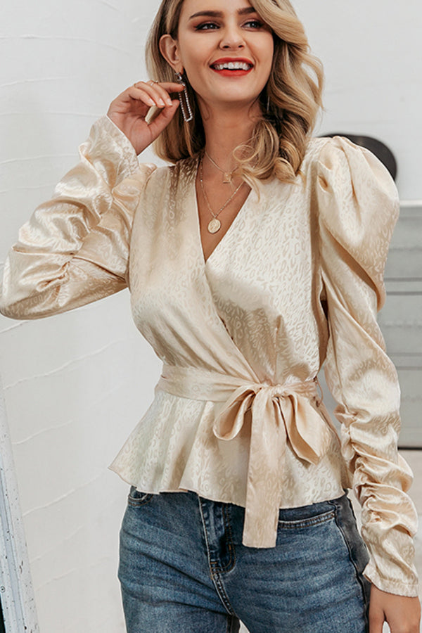 Champagne Long Sleeve Wrap Top-Apparel-Cocoplum Boutique