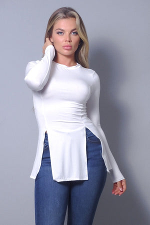 Sleek & Chic Fall Long Sleeve Slitted Top