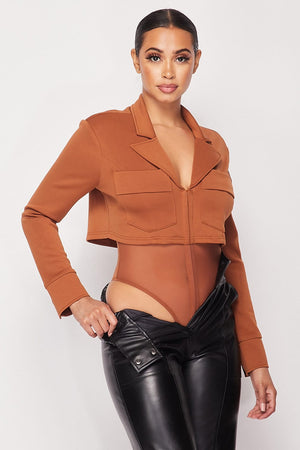 Deep-v Cropped Power Shoulder Blazer Bodysuit