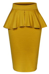 Pencil Skirt (Ruffle & Back Split) - DaLoCh Online Boutique