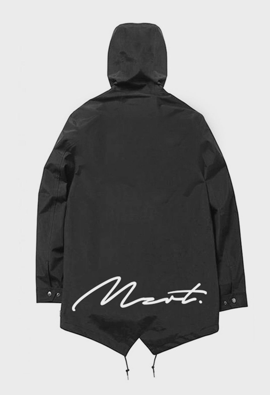 MZRT Elongated Cotton Parka Jacket in Black