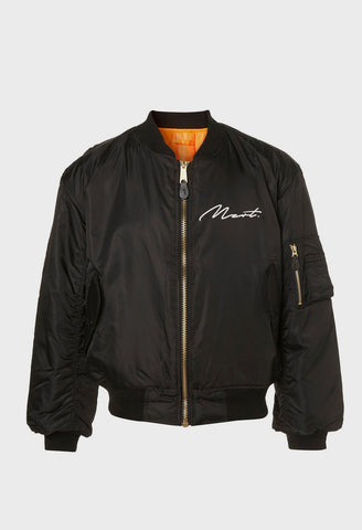 MZRT Nylon Bomber Jacket in Black