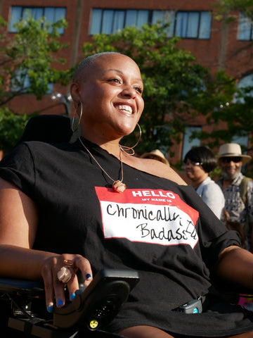 Keisha Greaves proud muscular dystrophy advocate in wheelchair.