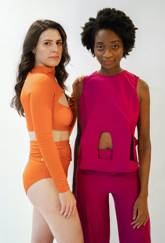 Nechama wearing Lydia suit and Raelle wearing Marije Top and Bottom