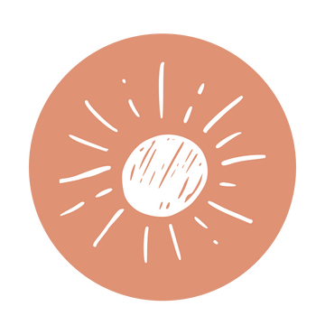 Pink background, illustration of a sun.