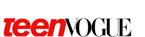 Logo of Teen Vogue in red and black.