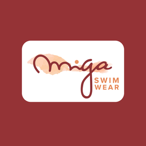 MIGA Red background with white card with MIGA Swimwear's peach, dark red and orange logo.