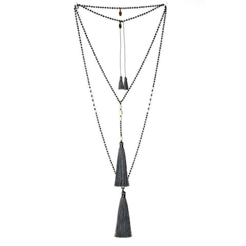 Tassel Pearl Necklace  in Charcoal (other colors available)