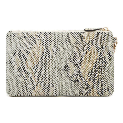 Mighty Purse by Handbag Butler Wristlet in Snake (Grey and Yellow)