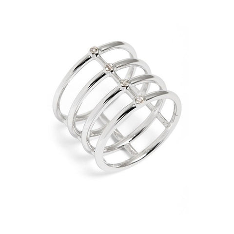 Berlin Ring in Silver and White Topaz