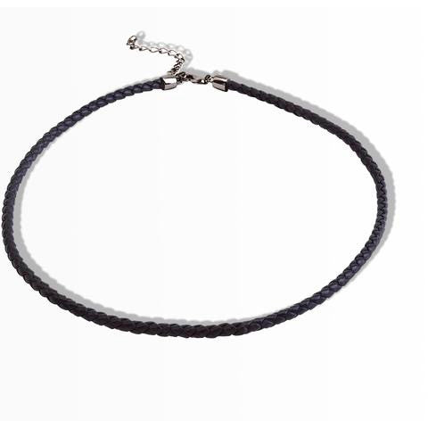 round black leather choker