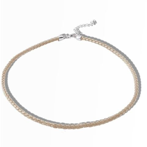 round nude leather choker