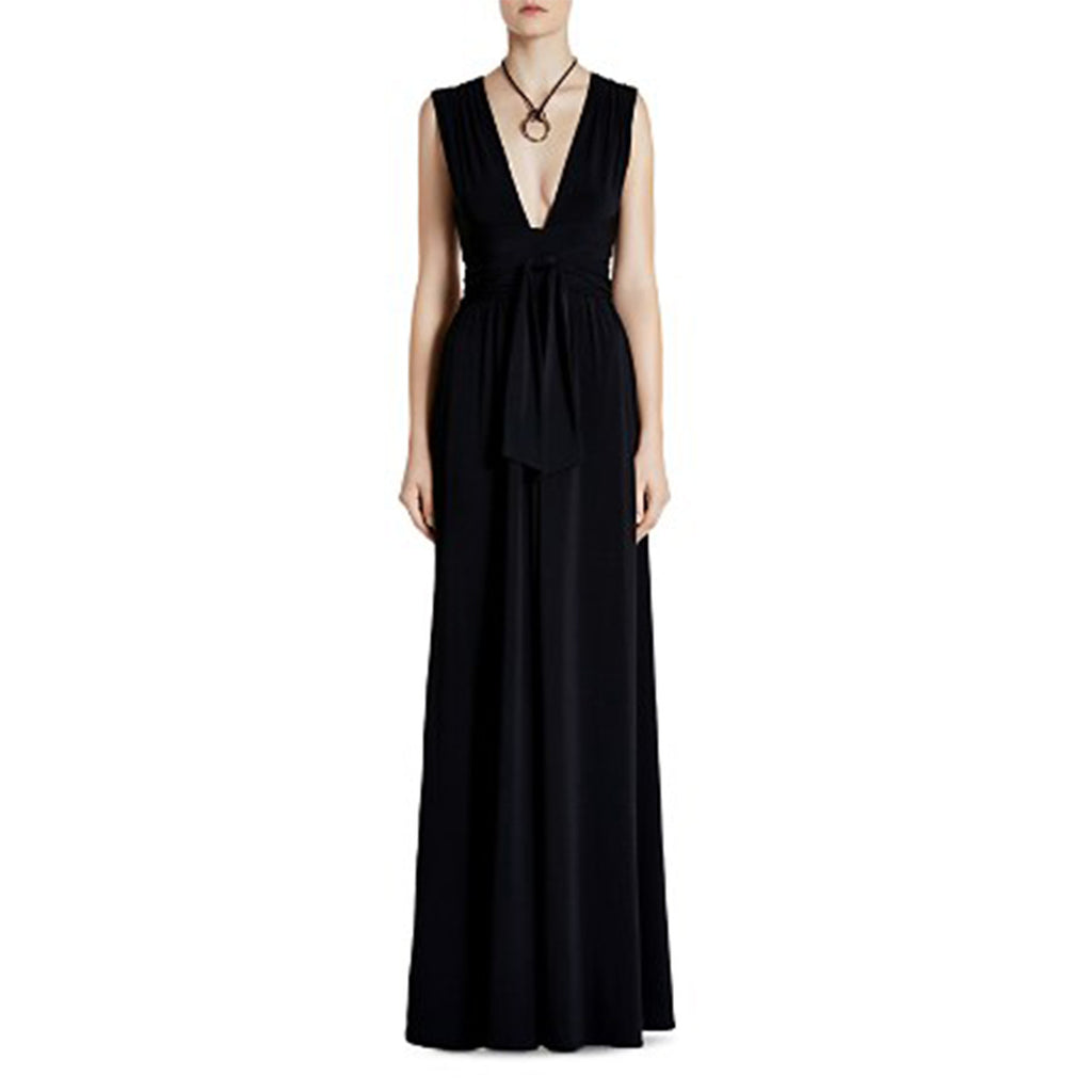 slv v neck jersey gown
