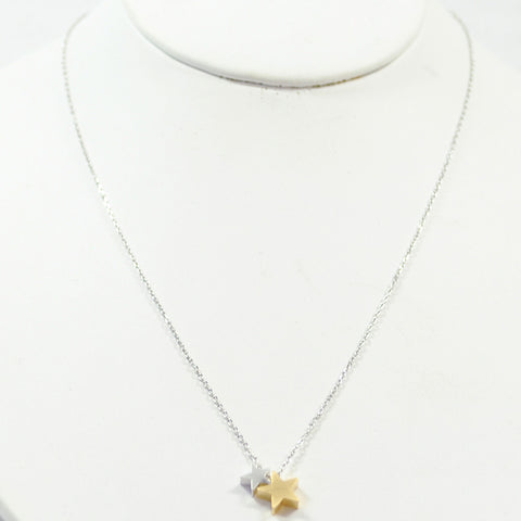 silver mix double heart necklace