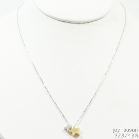 gold mix double star necklace