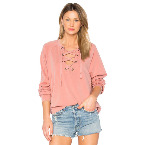 slave to love lace-up sweatshirt