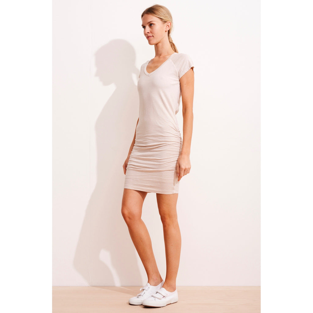 solid v-neck rouched dress