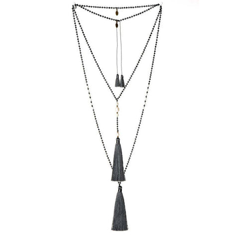 Tassel Necklace in Charcoal Pearl (other colors available)