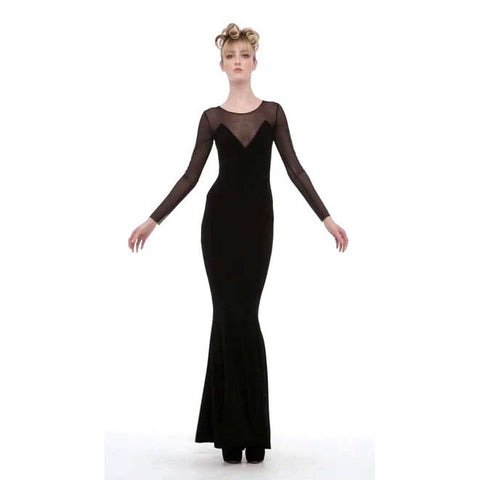 long sleeve fishtail gown