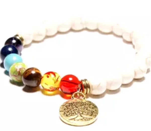 White Tree of Life Chakra Charmed Bracelet