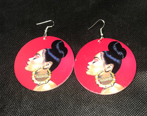 Red and Gold Goddess Earrings