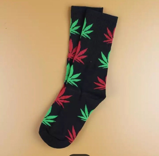 Black Red and Green Socks