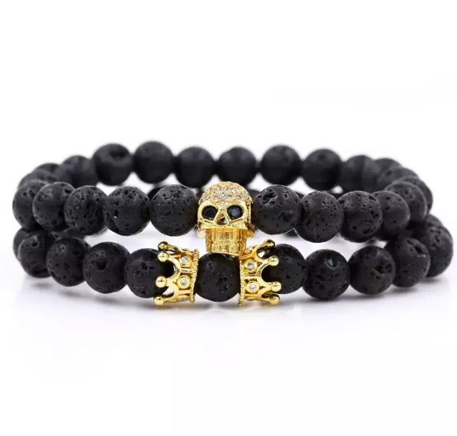Skull and crown bracelet set