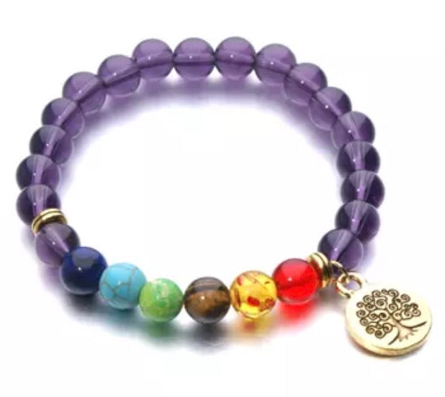 Purple Tree of Life Chakra Charmed Bracelet