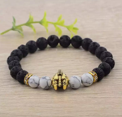 Black and White Howlite Chakra Warriors Bracelet