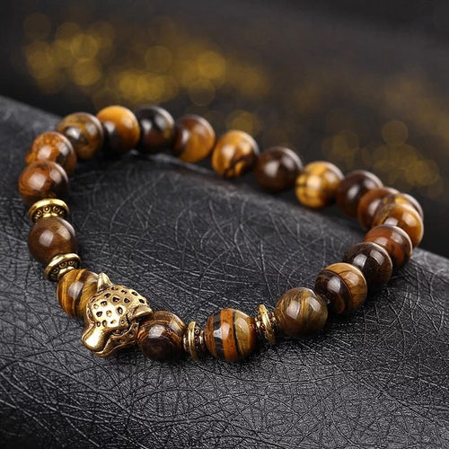 Brown leopard head stone bracelets