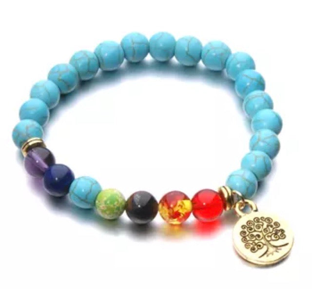 Blue Tree of Life Chakra Charmed bracelet