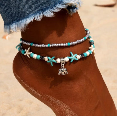 Elephant Charmed Double Anklet