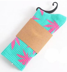 Aqua and Hot Pink Hemp Socks
