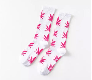 White and Hot Pink Hemp Socks