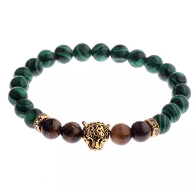Green and brown leopard head bracelet