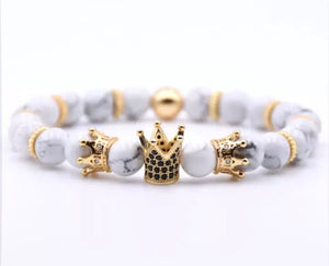 White Marble Triple Crowned Bracelet