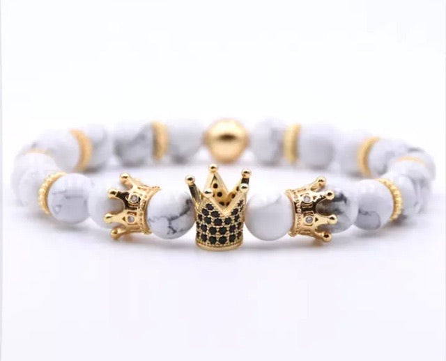 White Howlite Triple Crowned Bracelet