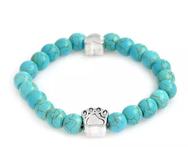 Baby Blue Pet Lovers Bracelet With a Heart Charm
