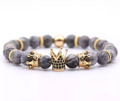 Marble Gray Triple Crown Bracelet