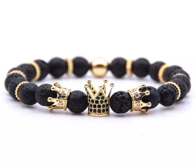 Black Triple Crown Lava Bracelet