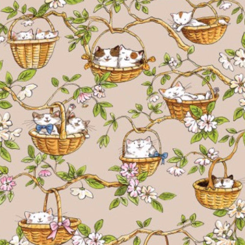 Cats In The Garden - Khaki Hanging Baskets (Y1823-11)