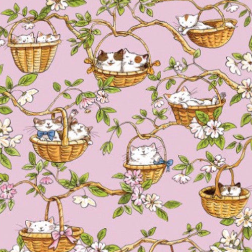 Cats In The Garden - Pink Hanging Baskets (Y1823-42)