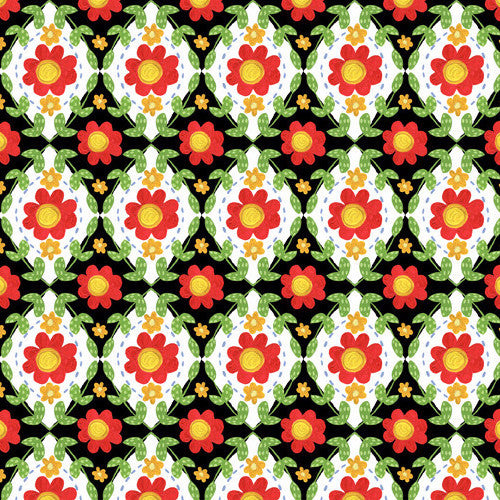 Strawberry Festival - Flower Tiles Black 4JHL1